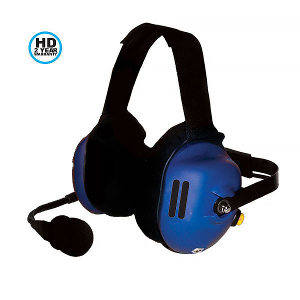 CH-40HME Behind the head dual muff signature blue Cobalt headset (with one muff vented without speaker) with HME cord. 2 year HD warranty.