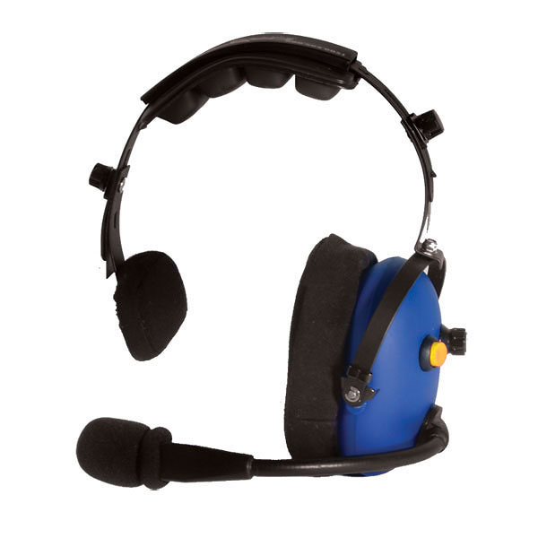 CH-15 Single ear over-the-head headset with yellow mic on/off button.