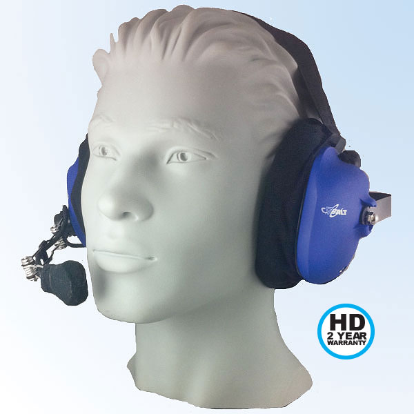 CH-22 Behind-the-head dual muff headset with red PTT button, 24 dB NRR, dynamic wire boom mic, jack for radio cord, and jack for scanner