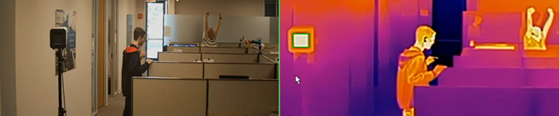 Camera video with a temperature reading in an office.